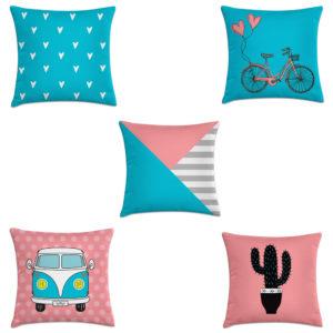 t kit 5 capas almofadas decorativas geométricas preto e rosa