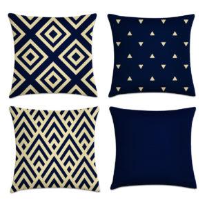 kit 4 capas almofadas azul marinho moderno