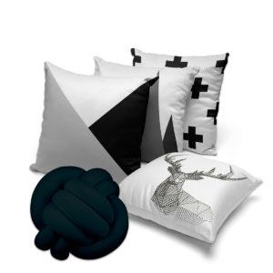 kit 4 capas de almofadas preto e branco + almofada de nó